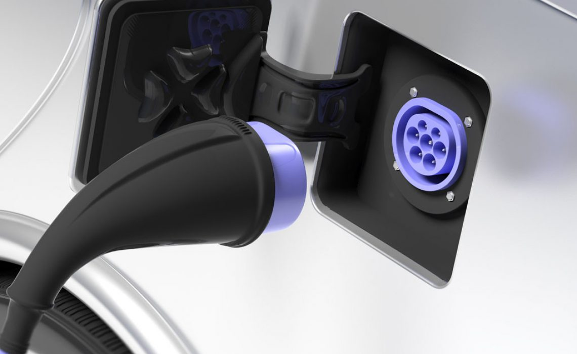 Electric car ev charger and socket inlet type 2 on white vehicle. 3d illustration